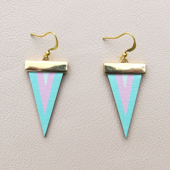 Leather Earrings  Mint and Pink Chevron by tovicorrie on Etsy, $23.00