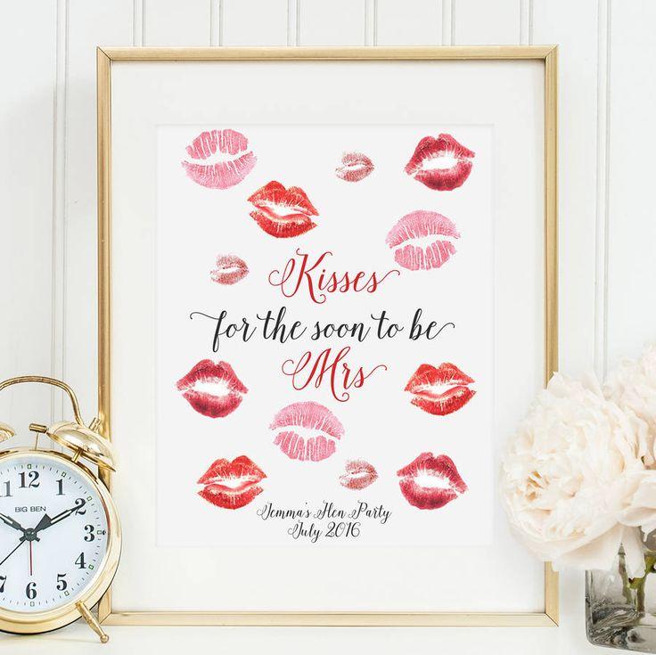 Hen Party 'Kisses For The Mrs' Keepsake Print
