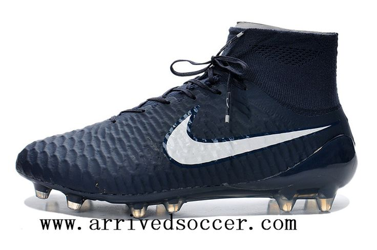 "Nike Magista Obra FG with""ACC"" Deep blue white high-top TPU nail soccer cleats"
