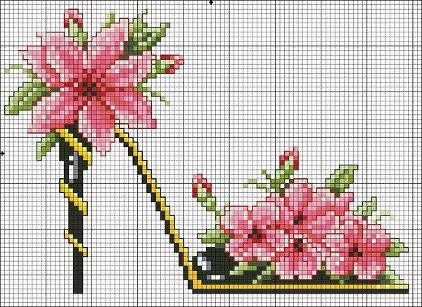 """Materiales gráficos Gaby: Plantillas Punto de cruz_zapatos """"florales"""""""