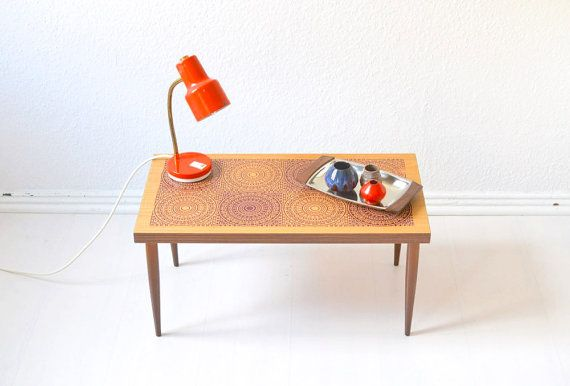 Vintage flower table kidney table coffee table bench Mid-Century Modern 60s GDR Eastern Germany