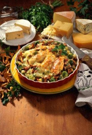 brussel sprouts and bacon, with chicken breast and cheese  - german recipe