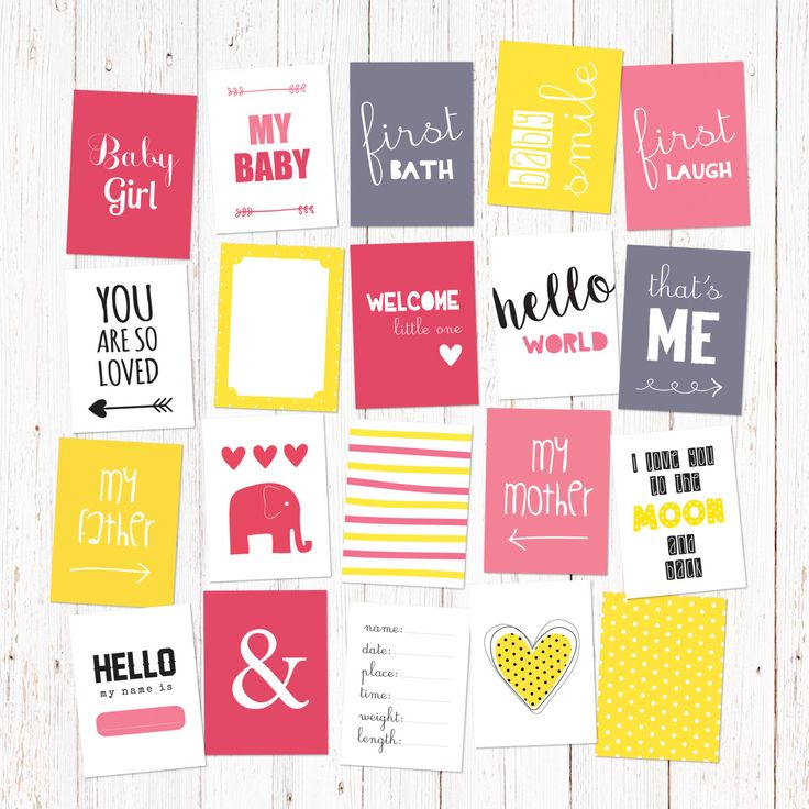 """Scrapbook and journal cards for newborn baby girls. 20 cute cards for instant download. Size 3X4"""". Vol 1. by GraphicCorner on Etsy"""