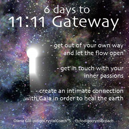 11:11 Portal of Light  6 days http://indigocrystalcoach.wordpress.com http://www.facebook.com/indigocrystalcoach