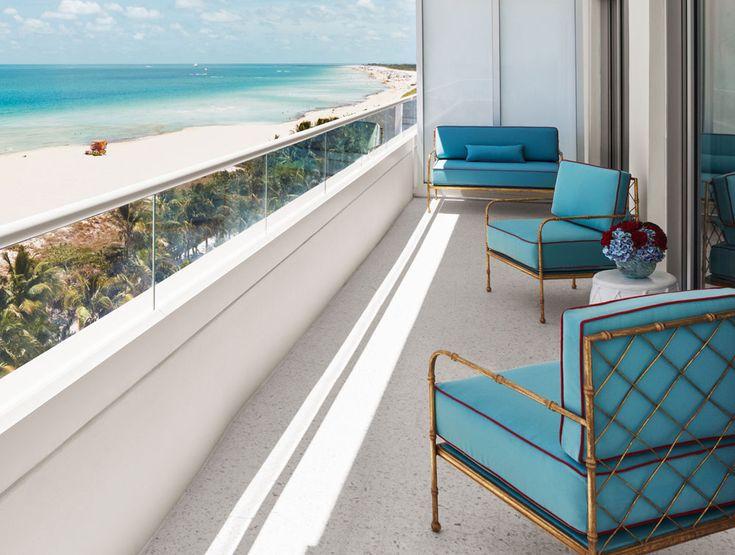 Corner Suite Balcony At A Hotel In Miami Beach Fl