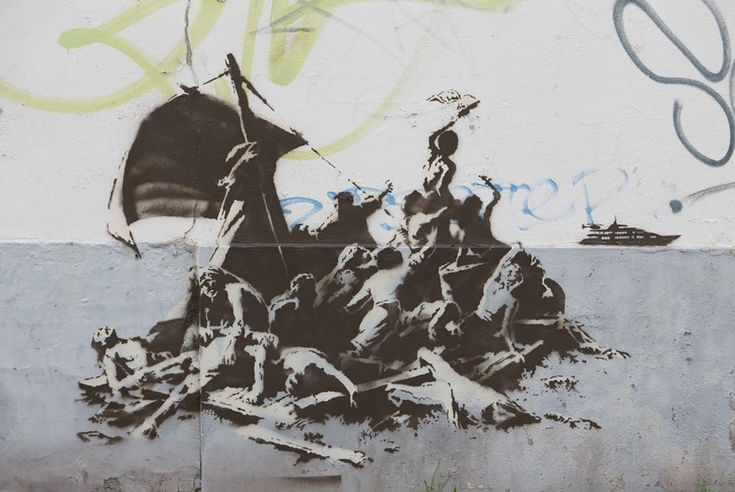 Banksy in Calais, about the syrian refugee crisis. Title: we're not all in the same boat From Banksy.co.uk