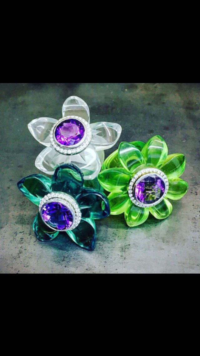 Blooming marvelous ... High tech polymers and diamonds with gemstones.  Bespoke Blooms designed by mark gold ... Flower rings