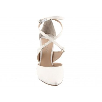 A white satin fabric pointed heel with an open cross over waist and buckled…
