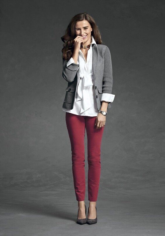 Fall / winter outfit ideas. Burgundy pants. Charcoal blazer.