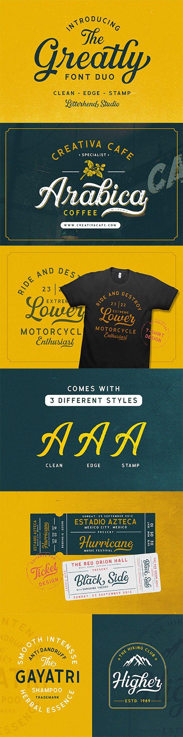 Greatly Font Duo + Logo Templates. Professional font. #font #design #art #digitalArt #webDesign #printDesign #emblem #FontDuo #label #LogoTemplates #retro #typeface #vintage