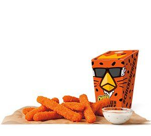 CHEETOS® Chicken Fries are made with white meat chicken like original Chicken Fries, and are covered in a crispy Cheetos-flavored breading and cooked to crispy perfection so that they have a dangerously cheesy outside with and made with juicy white meat chicken inside.