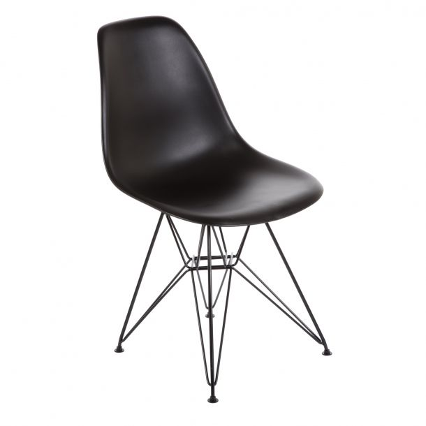 Eiffel Chair Black Metal Base & Black Top | Memoky.com