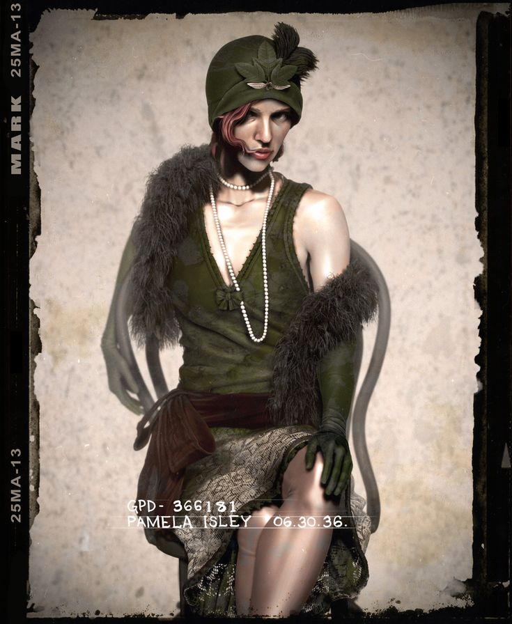 Pamela Isley (Poison Ivy) re-imagined in 1940's mugshots by Jason Mark