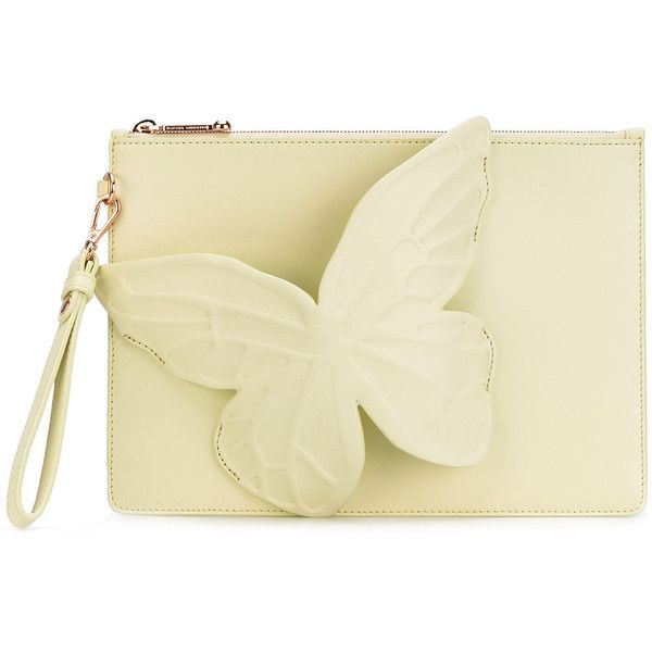 Sophia Webster butterfly clutch bag ($395) ❤ liked on Polyvore featuring bags, handbags, clutches, sophia webster, beige handbags, butterfly handbag, beige clutches and beige purse