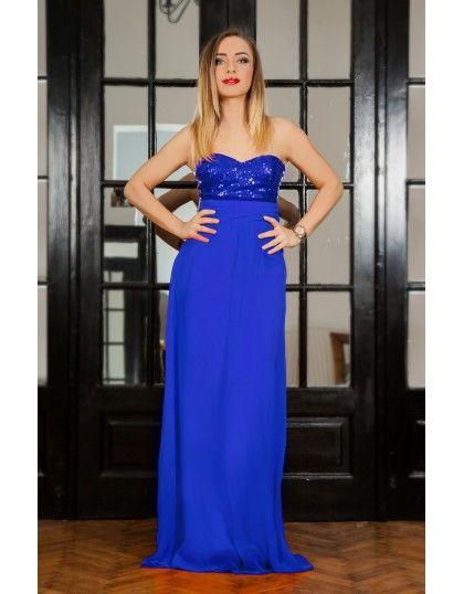 Rochie de seara lunga albastra cu paiete in zona bustului