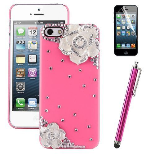 Pandamimi ULAK(TM) Sweety Girls White Flower Design Hot Pink Bling Case Cover Skin Decorated Cute Shining Princess Style for iPhone 5 5G + Stylus + Screen Protector by ULAK, http://www.amazon.com/dp/B00CW5WDJW/ref=cm_sw_r_pi_dp_QRSMrb1TTWZDR