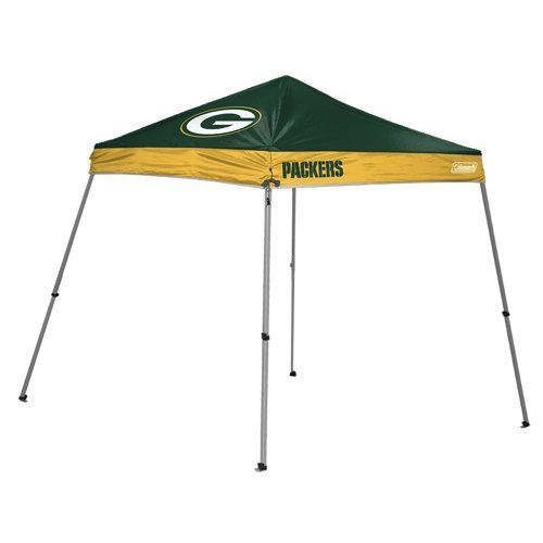 NFL Green Bay Packers 10 x 10-Feet Slant Leg Canopy by Licensed Products. $139.99. 10 Foot by 10 Foot Slant Leg Canopy. Frame 28mm X 28mm Powder Coated Steel. Made of 150D Poly Oxford Material. Features Team Logos and Colors and comes with team logoed carry case. Shelter wall not included. Be the host of the party at the your next tailgate and show your team pride with this Coleman branded shelter.