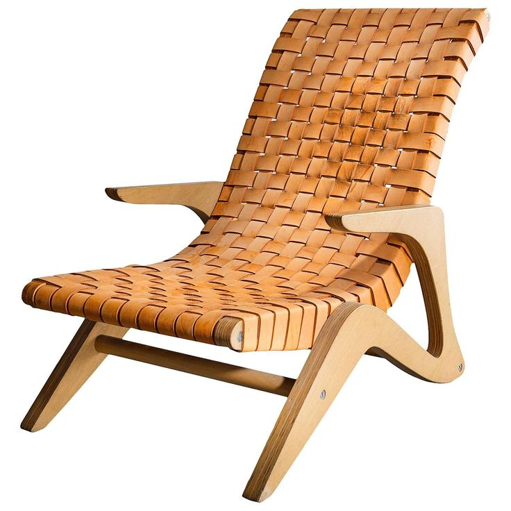 Chaise Lounge in Plywood with Webbed Leather Seat by Jose Zanine, 1950s | 1stdibs.com