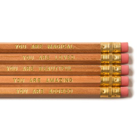 You Are Beautiful...The Ultimate Pencil Set - $10 http://www.shopolivine.com/products/you-are-beautiful-the-ultimate-pencil-set.  A great stocking stuffer