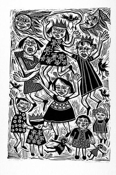 Girls at play ,1988 , linocut by Barbara HANRAHAN