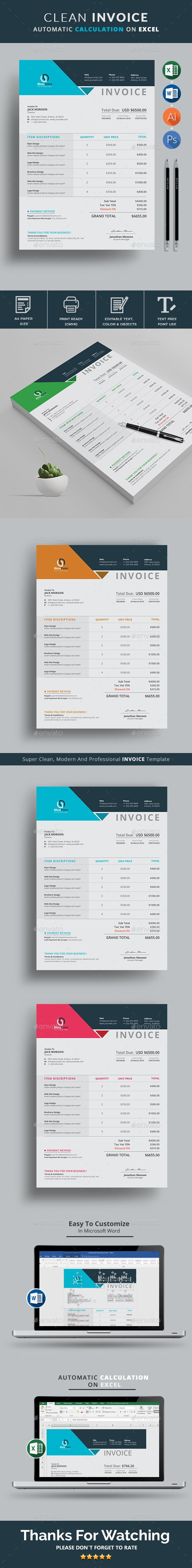 #Invoice #Template Use this Clean Invoice for personal, corporate or company billing purpose. Excel Auto Calculation features are available. This Simple Invoice will help you to create your invoice very quick and easy. This Elegant Invoice Design will convey your brand identity as well as Professional Invoice look. Download here: https://graphicriver.net/item/invoice/19853661?ref=classicdesignp