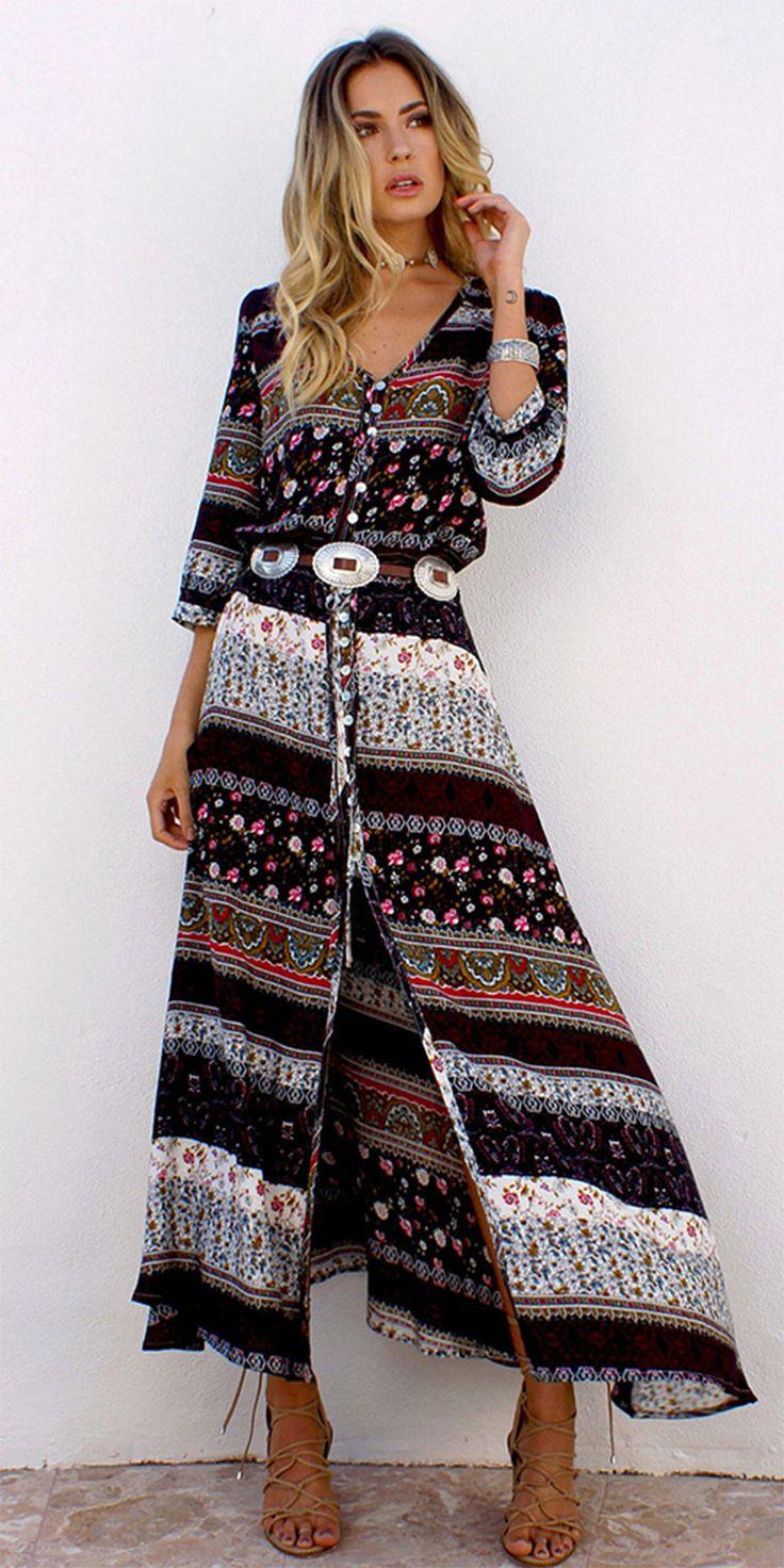 Women's Beach Holiday Boho A Line Dress,Print V Neck Maxi Long Sleeve Cotton Summer Inelastic