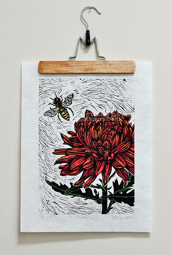 Flower and Bee linocut - hand painted with watercolor