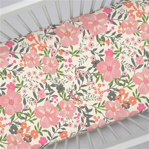 Crib Fitted Sheet in and Pink and Orange Floral Tropic by Carousel Designs.
