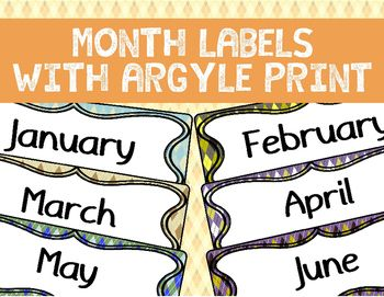 It's not every day that you see labels with a fancy argyle print!I've made 1 label for every month of the year in 12 different colours.Here is a short step-by-step guide on how to use this product:1. Download it2. Print it out3. Cut out the labels4. Plasticize the labels5.