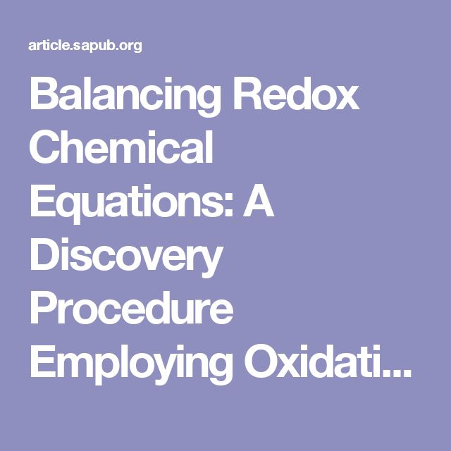 Balancing Redox Chemical Equations: A Discovery Procedure Employing Oxidation Reduction Titration