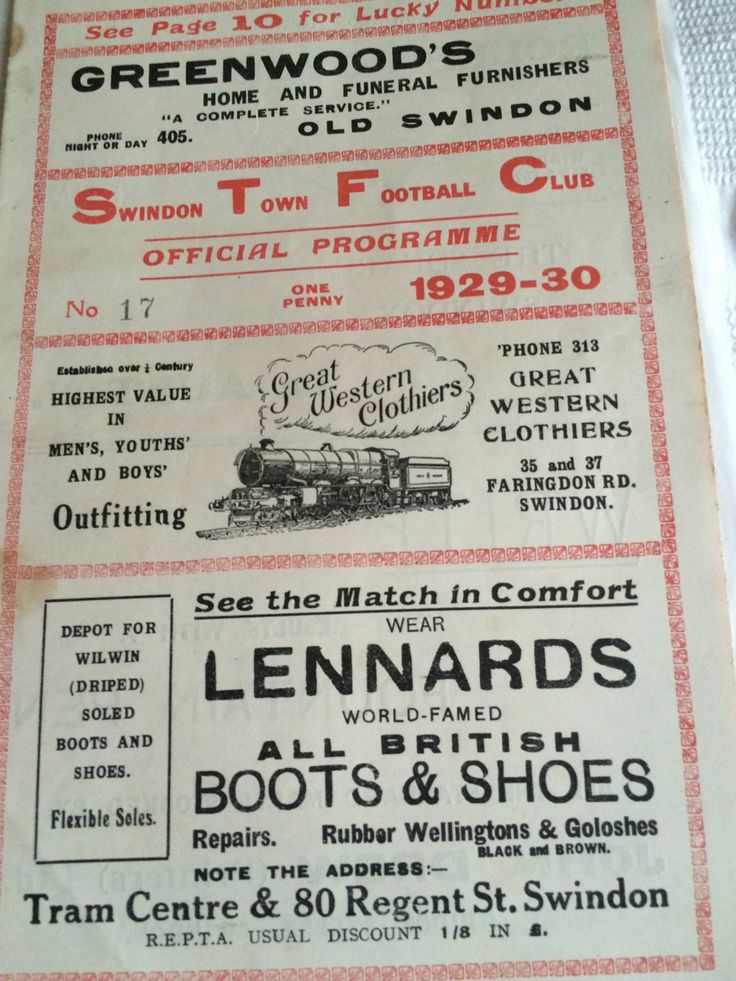 Swindon town v guildford city 1929/30 season football programme