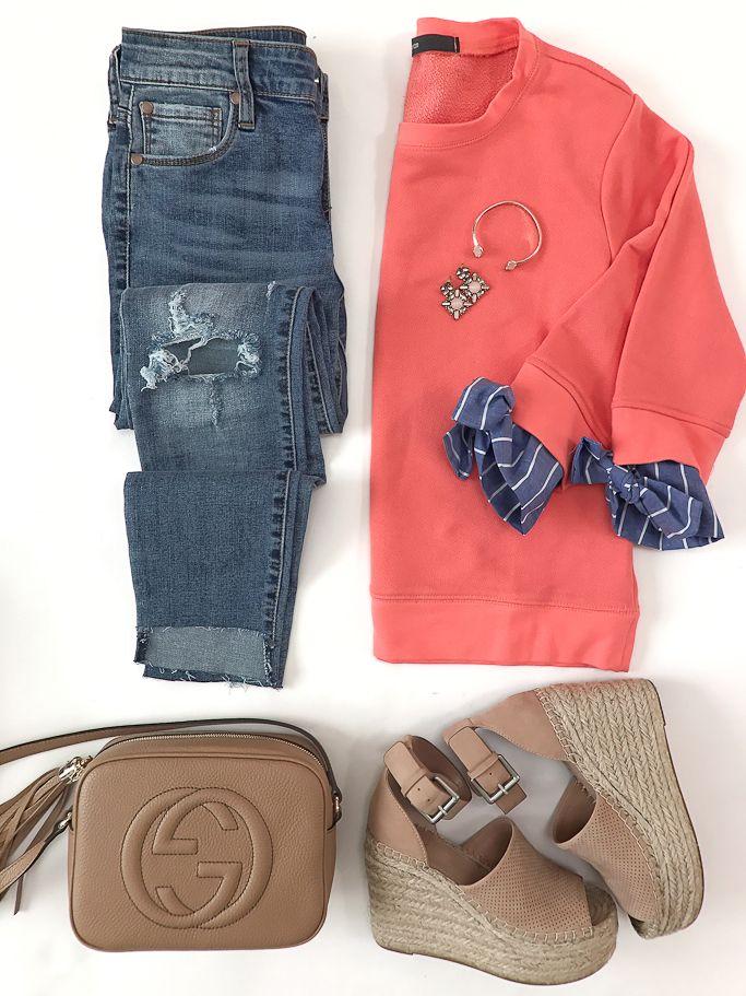 BP. ripped step hem skinny jeans, Gibson tie sleeve sweatshirt, Gucci soho disco leather bag, Marc Fisher Adalyne Platform Wedge
