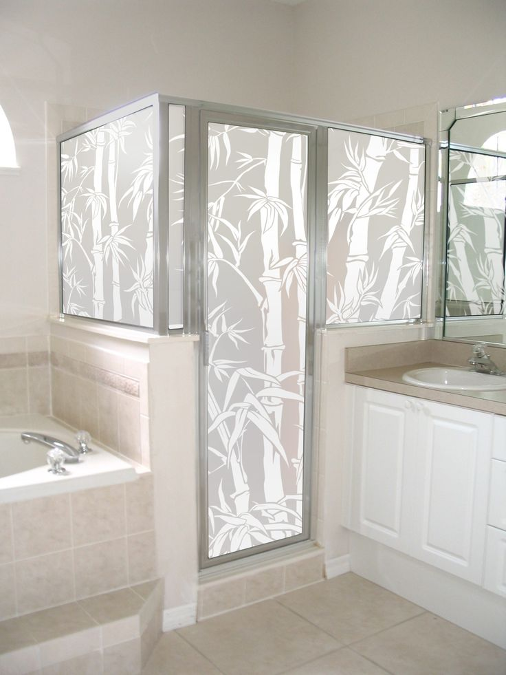 Big Bamboo Privacy Film Shown On A Shower Enclosure