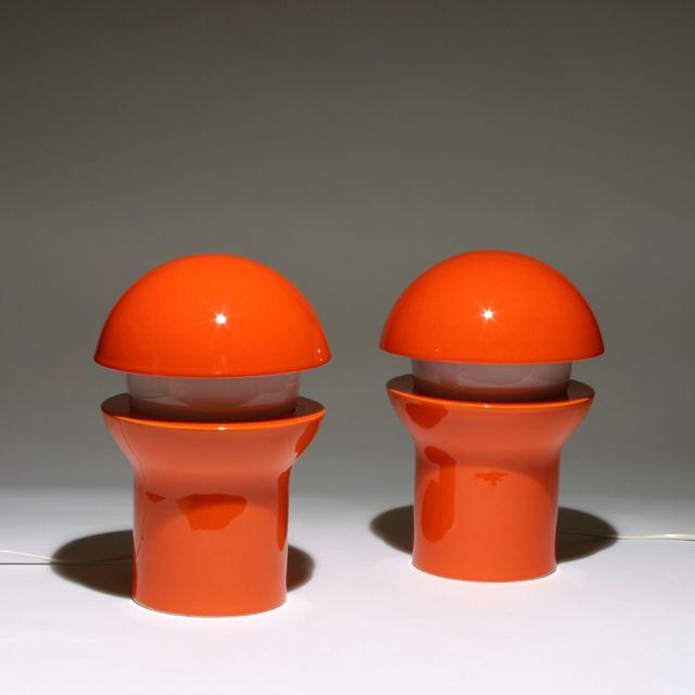 Timo Sarpaneva; Glazed Porcelain and Glass Table Lamps for Rosenthall, 1972.