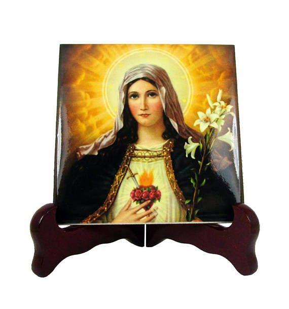 The Immaculate Heart of Virgin Mary - christian icon on ceramic tile. Now available on Etsy: >>> https://www.etsy.com/listing/236344507 <<<  #avemaria #faith #virginmary #ihm #catholic #prayforus #pray
