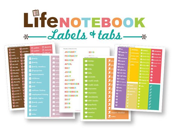 Planner Calendar Notebook Free Download : The life notebook planner label stickers downloads only