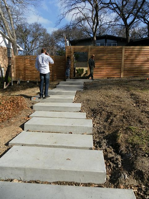 how to build concrete steps on a hillside