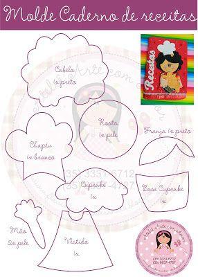 Ateliê Arte com amor: Molde brinde - Menina Cozinheira (para caderno de receitas)