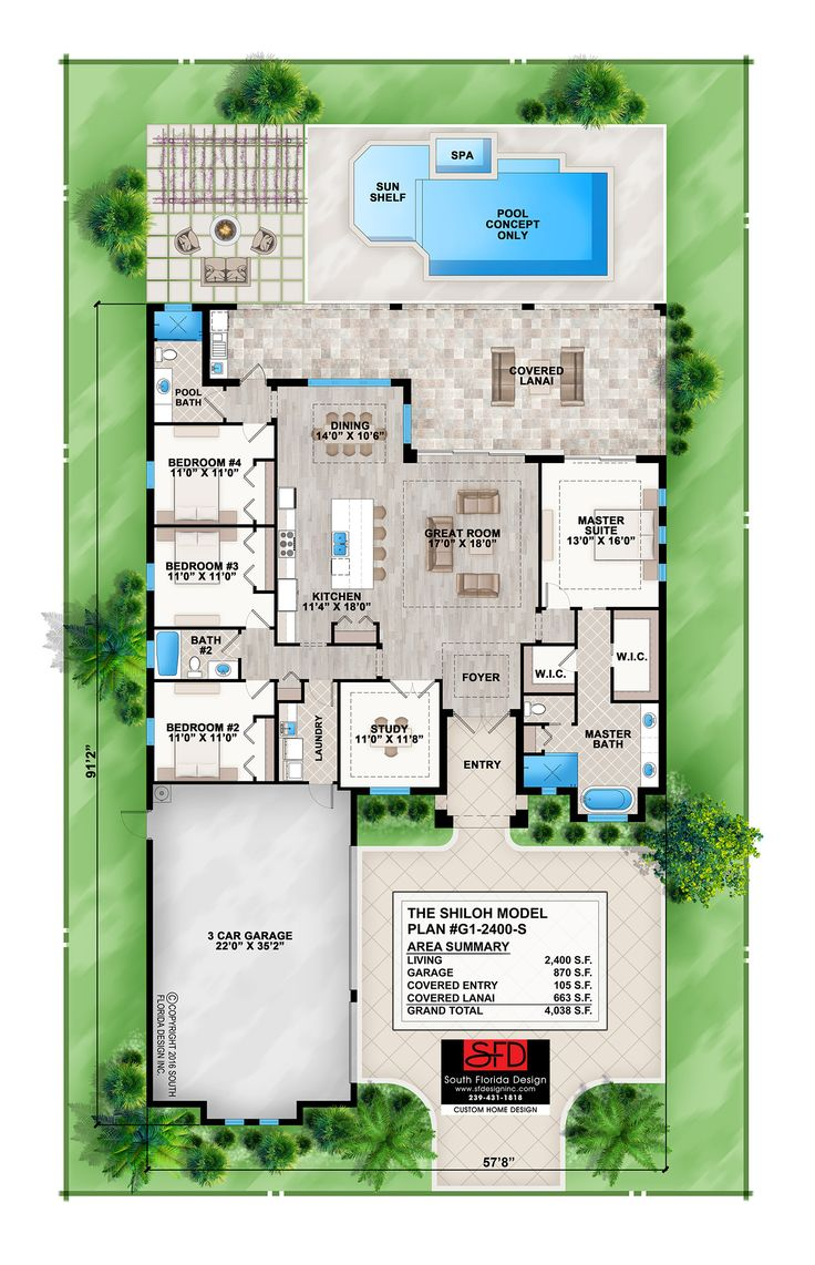 This 1 story coastal contemporary 4 bedroom house plan also features a great room