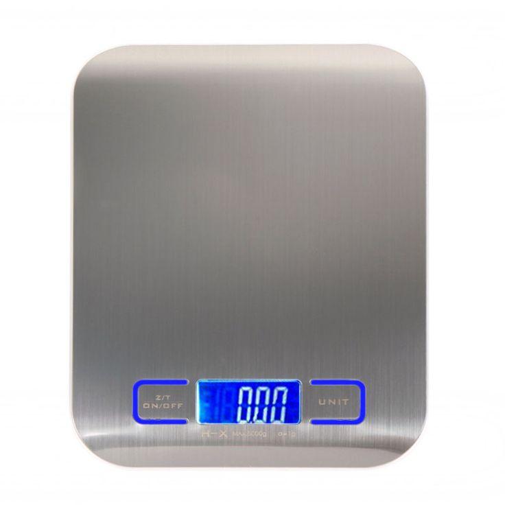 5000g/1g Digital Skala Memasak Alat Ukur Stainless Steel Dapur Skala Elektronik Berat Skala LCD Display Overload Promopt