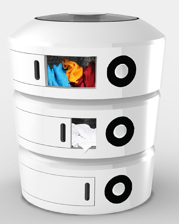 The Triple Spin washing machine allows you to wash different clothes in their own separate department. #washingmachine #clothes #YankoDesign