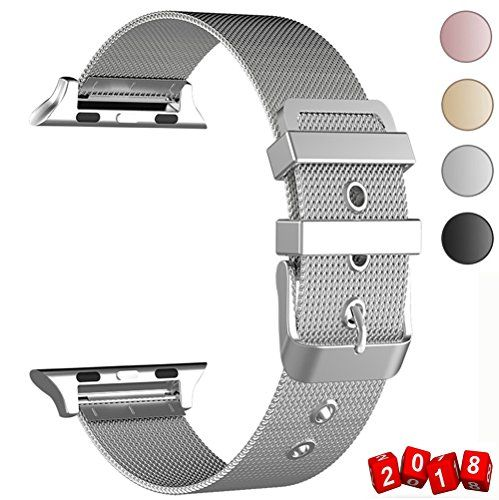 GEOTEL Band for Apple Watch 38mm 42mm Stainless Steel Milanese Loop with Adjustable Magnetic Closure Metal iWatch Band for Apple Watch Series 3 Series 2 Series 1 (CLASSIC BUCKLE-SILVER 42MM)