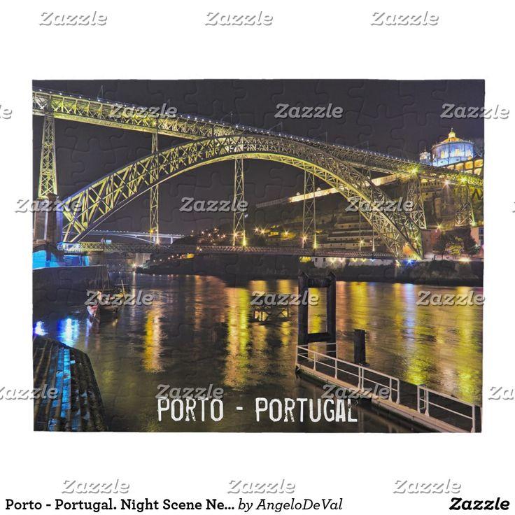 Porto - Portugal. Night Scene Near Douro River Jigsaw Puzzle