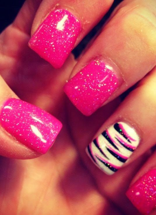 Zebra Print Nails Design,zebra-stripe nails for girls,Orange and Black Zebra Print Nails Art for t...