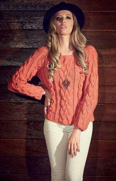 Armarinho São José: Suéter com tranças em tricô - Lã Alice