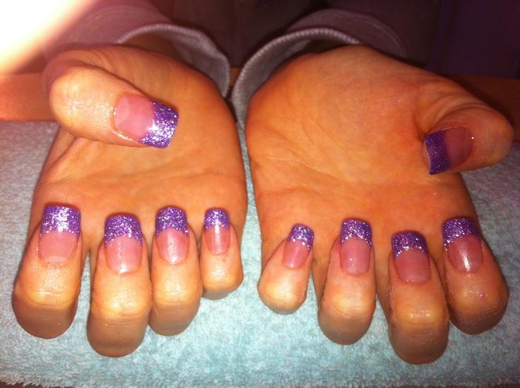 Purple Glitter Nail Tips Purple glitter tips acrylic