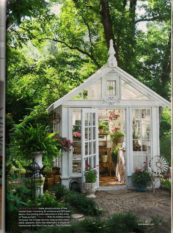 """Greenhouse made from repurposed windows doors... gorgeous! I would actually try to """"grow"""" a green thumb if I had this :)"""