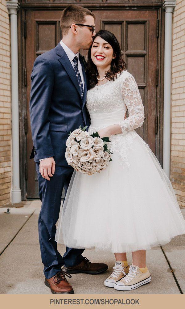 Retro Wedding Dress Tea Length Wedding Dress Long Sleeves Wedding Dress Vint Tea Length Wedding Dress Retro Wedding Dresses Tea Length Wedding Dress Vintage
