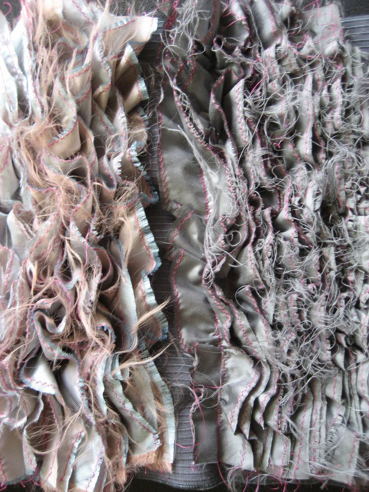 Satin Ruffles inspired by Sea Anemones. Fabric Manipulation . Textiles .