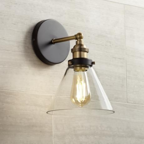Burke 10 3 4 High Black And Warm Brass LED Wall Sconce